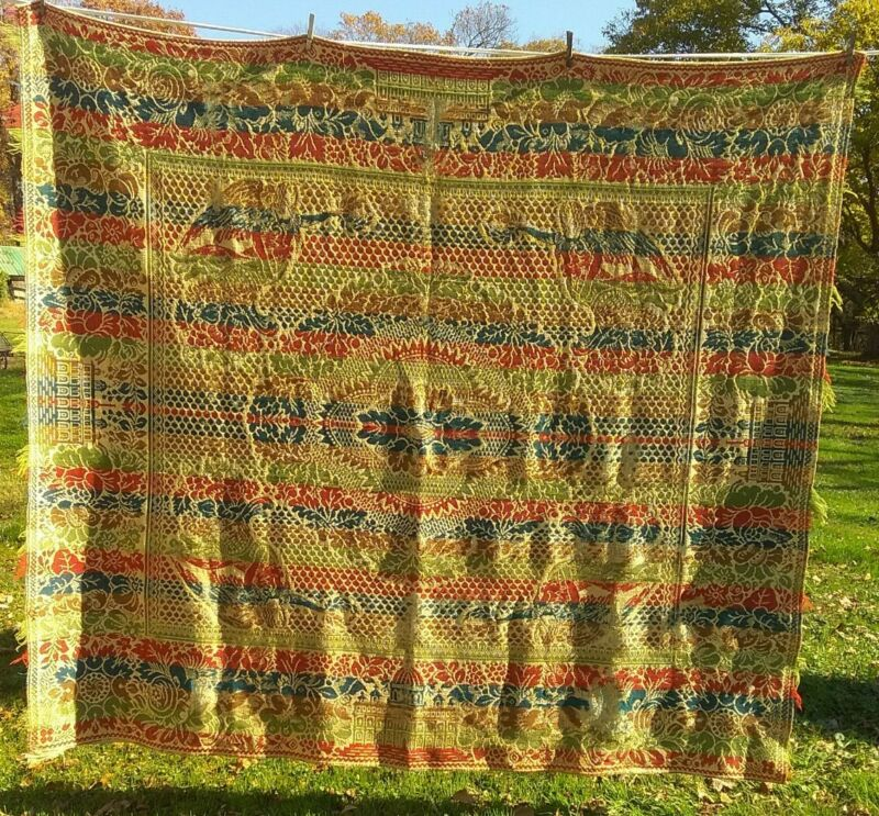 Early Commercially Woven Coverlet Blanket Bedspread, Colonial Motif & Colors