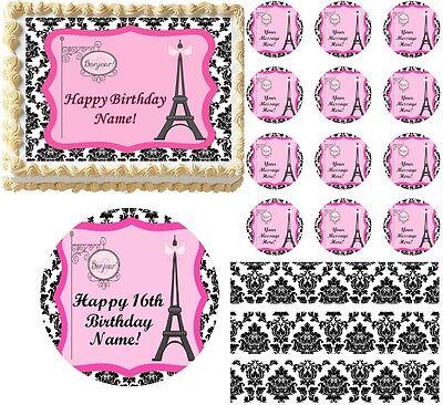 Black and White PARIS Damask Eiffel Tower Bonjour Edible Cake Topper Image Sheet](Black And White Damask)