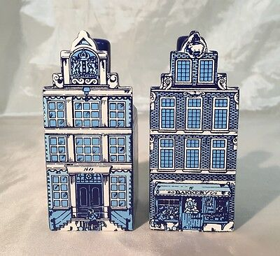 Delft Blue & White Canal Shop Building Wood Salt & Pepper Shakers Holland NEW