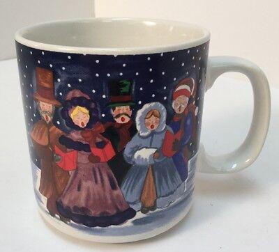 Vintage 1990 Grant Howard Coffee Cup Mug Christmas Carolers Winter Holliday 8oz