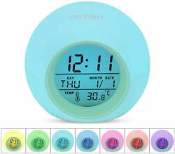 Kids Alarm Clock, 7 Colors Changing Light ,with Indoor Temperature Touch Control