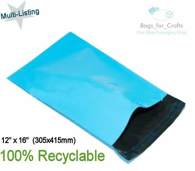 10 Recyclable Plastic Poly Mailing Bags Light Blue 12 x16
