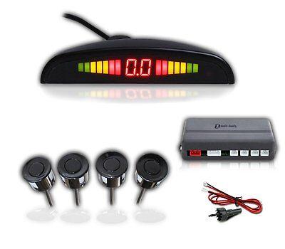 Zento Deals 4 Black Vehicle Reverse Backup Sensors Radar LED Alarm Parkin System
