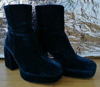 Used, ZARA TRAFALUC BOOTS EU37 UK4 platform block heel zipper velvet look turquoise for sale  Shipping to Ireland