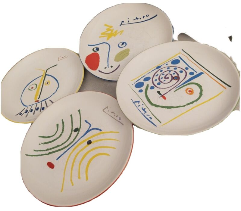 """Picasso Living Masterpiece Edition Collectible Face Plates Set of Four 7.5"""""""