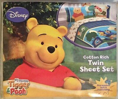 Disney Tigger & Pooh Twin Sheet Set. Cotton Poly Blend. NIP. Sounds Like Mystery (Disney Cotton Sheet Set)