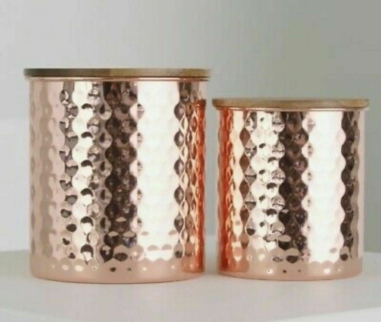 Uncommon James Hammered COPPER Canister Storage Set 2 piece