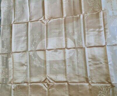 Vintage Rayon floral Table Cloth Peach 52