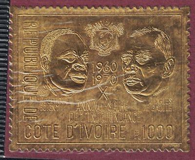 Ivory Coast SC299D Pres.CharlesDeGaulle&H.Boigny-Gold/10thAnniv.Independ MNH'70