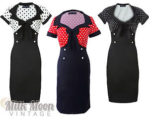Vintage-Dress-1950s-1960s-Bodycon-Wiggle-Sleeve-Black-Polka-Dot-Size-UK-6-26
