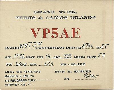 OLD VINTAGE VP5AE GRAND TURK ISLAND TURKS & CAICOS AMATEUR RADIO QSL CARD
