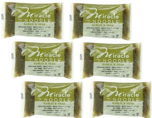 6 Packs Miracle Noodle GARLIC Fettuccine Pasta- Vegan Gluten Free (Made in USA)