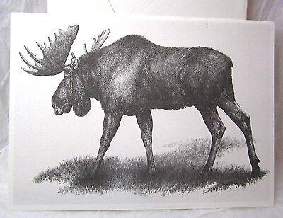 VINTAGE DOUG LINDSTRAND CARD ALASKAN BULL MOOSE BLANK ART GREETING NOTE 1987 USA