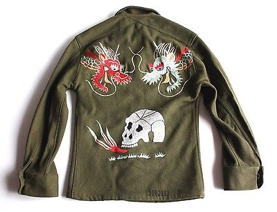VTG OG-108 Custom Embroidered WOOL FIELD MILITARY dragon SHIRT SOUVENIR JACKET