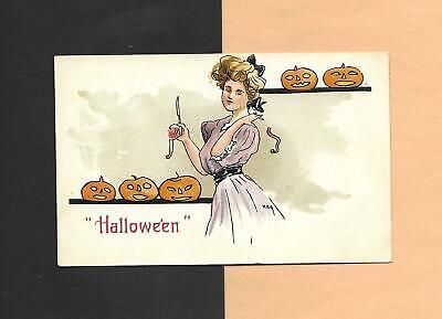 LADY'S SUPERSTITION, Spooky JOLs On A/S HBG Vintage 1911 HALLOWEEN Postcard