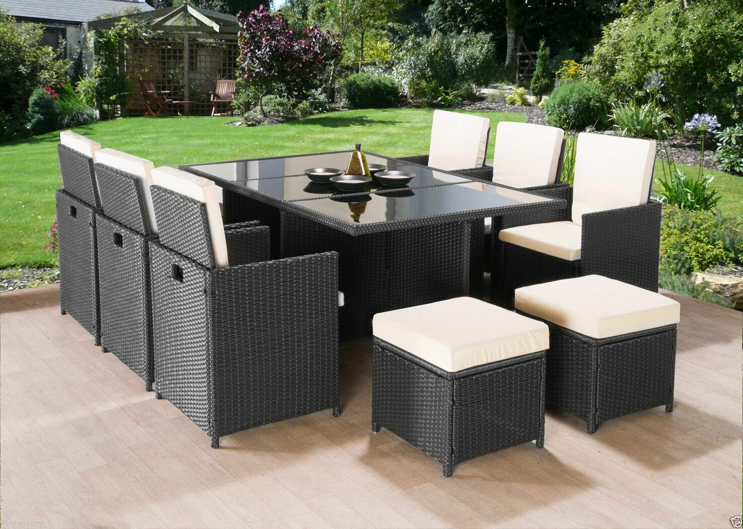 Garden Furniture - CUBE 2019 RATTAN GARDEN FURNITURE SET CHAIRS TABLE OUTDOOR PATIO WICKER 10 SEATS