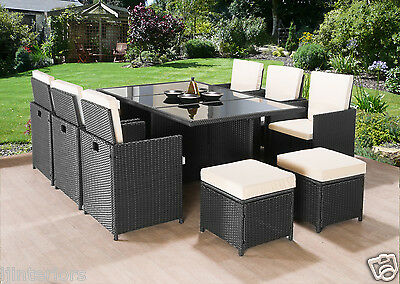 Garden Furniture - CUBE RATTAN GARDEN FURNITURE SET CHAIRS SOFA TABLE OUTDOOR PATIO WICKER 10 SEATS
