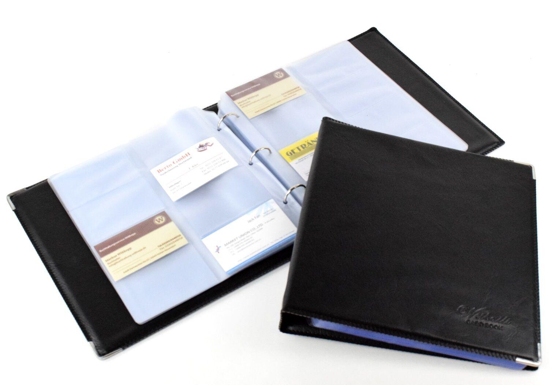 Idena 567042 Visitenkartenmappe für 144 Karten schwarz Aufbewahrung Ordnung