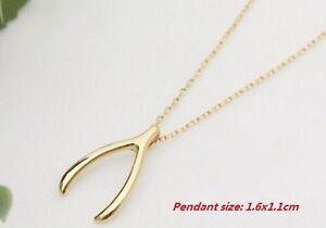 Magical wishbone necklace in velvet gift bag gold Love infinity wish bone lucky