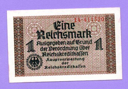 1940-1945 GERMANY LATVIA 1 REICHSMARK UNC EAGLE W/H SWASTIKA UNC 282