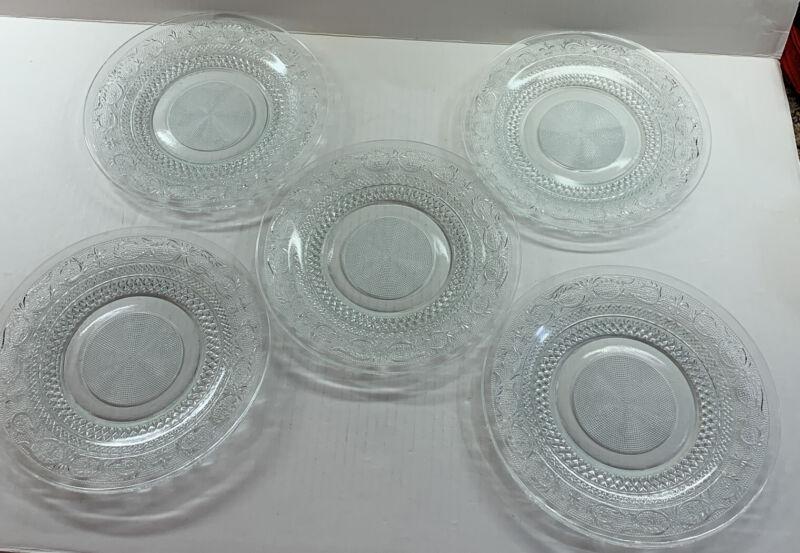 "5 VINTAGE KIG Malaysia Pressed Glass Clear Plates 10"" Diamond Dot Fleur de Lis"