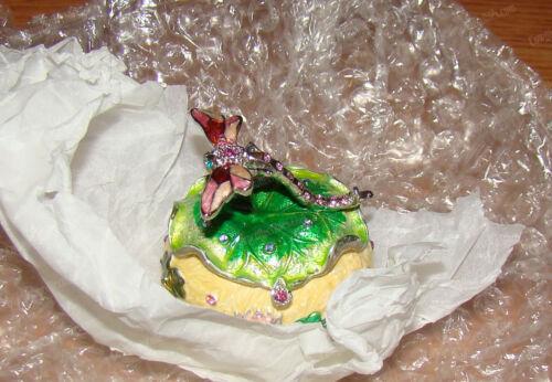 Dragonfly, Lily Pad Egg Box (757175) Pewter, Baked Enamel, Australian Crystal