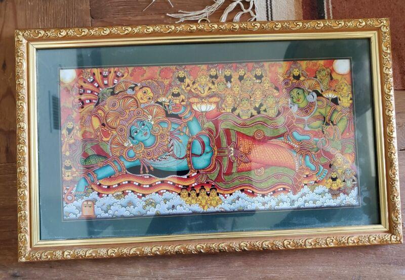 "Sree Padmanabha Swamy Temple Divine Holy Blessing Framed Art Pooja/Gift 15"" x 9"""