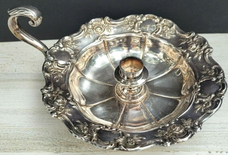 VTG Towle Silver Plated Ornate Roses Chamber Candle Holder Drip Tray Finger Loop