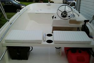 BOSTON WHALER BOAT CUSHION SET OF 2 VINYL BENCH SEATS W/SS HARDWARE 22