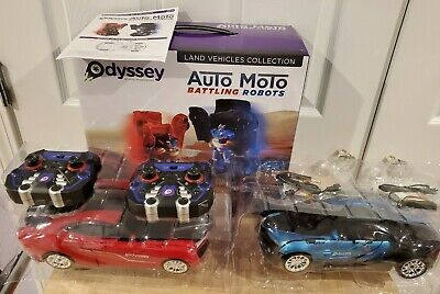 Odyssey Auto Moto: 2 pk Remote-Controlled Cars Transform to Battling Robots -NEW