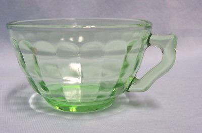 "Green Depression Cup Anchor Hocking Block Optic Green Knob on Handle 2"" H"