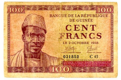 Guinea ... P-7 ... 100 Francs ... 1958 ... * VG-F *