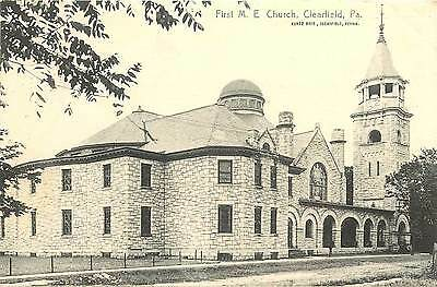 1907 1915 Vintage Postcard  First M E  Church  Clearfield Pa  Unposted Rotograph