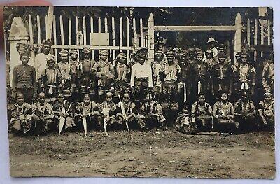EARLY PHOTO POSTCARD CHIEF TANGARLING & FOLLOWERS ZAMBOANGA PHILIPPINES 1908
