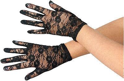 Womens Black Lace Gloves 80's Madonna Cyndi Lauper Costume Accessory - Cyndi Lauper Halloween Costume