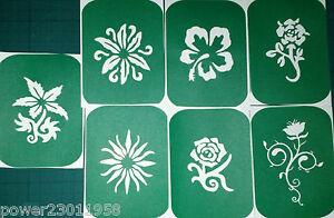 Pack of 7 FLOWERS-1 Flower Vinyl Tattoo Body Art Stencils Glitter-Airbrush