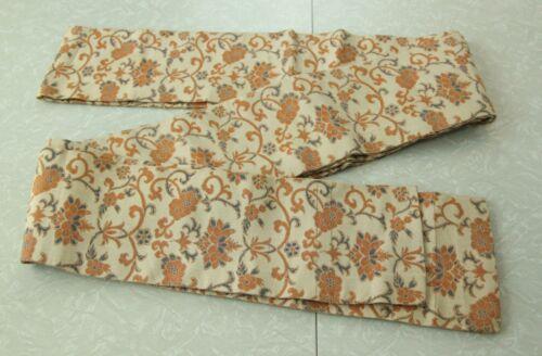 "WEAR Vintage Floral Silk Obi Belt Tie Sash Japan Kimono Cream 5.5"" x 128"" Thick"
