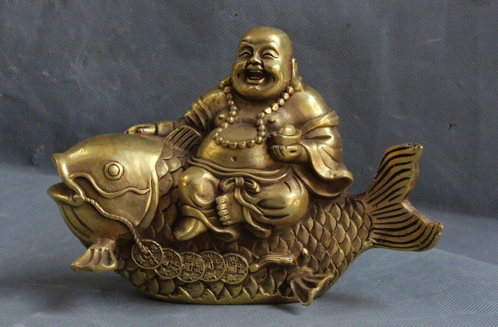 China Bronze Brass Yuan bao wealth Happy Laugh Maitreya Buddha Ride Fish Statue