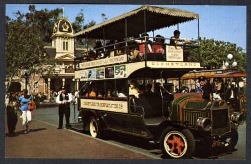 1960s DISNEYLAND MAIN STREET TOWN SQUARE DOUBLE-DECKER BUS~UNUSED NM/MT POSTCARD
