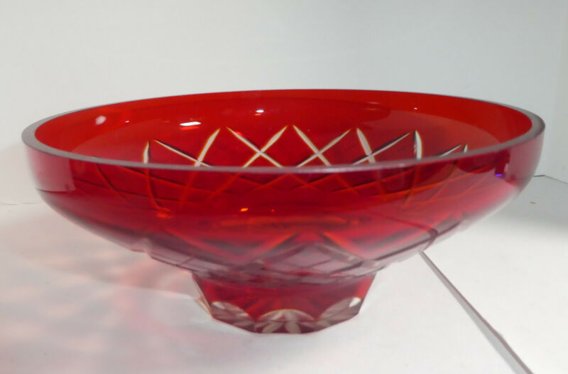 Bohemium?? Ruby Glass Cut to Clear Glass Bowl, Wonderful for Christmas Decor