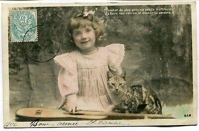 CPA - Carte Postale - Fantaisie - Petite Fille et son Chat (I9864)