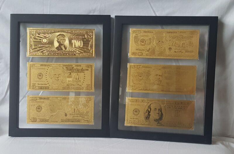 24kt Gold Leaf Framed Dollar Bills U.S. Currency $2$5$10$20$50$100 Foil Office