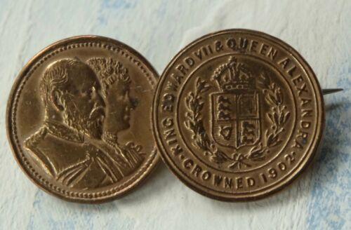 antique Edwardian 1902 Edward & Alexandra gold tone coin brooch c pin -X183