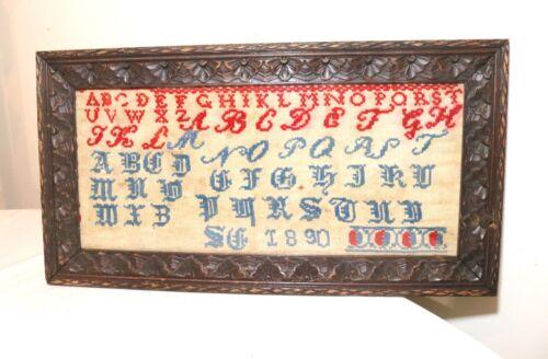 antique 1890 hand embroidered needlepoint sampler alphabet ornate carved frame