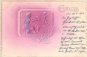 Cartolina - Illustrata - Gruss - Donnina - angelo- Liberty - in rilievo - 1906 - Italia - L'oggetto può essere restituito - Italia