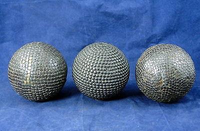 3 sehr alte französische Boulekugeln boule cloutées petanque Boule Kugel