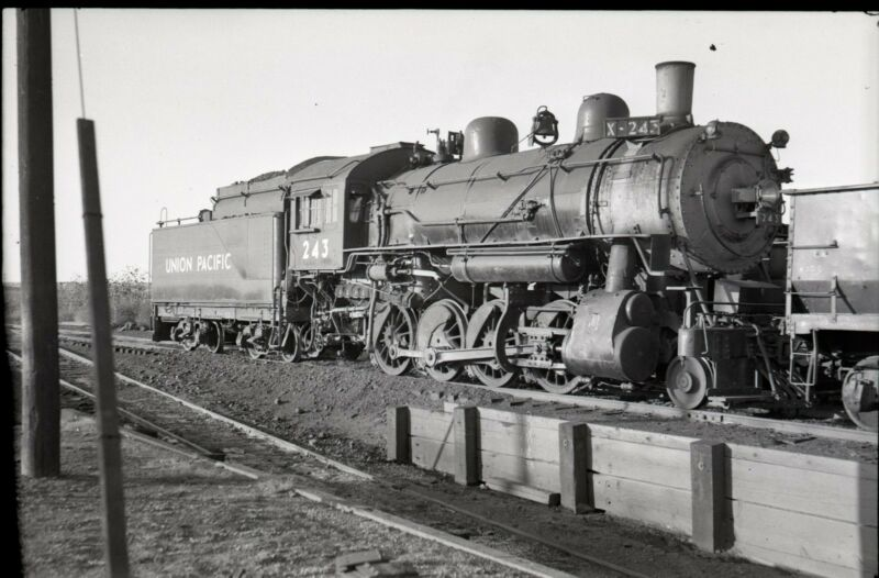 1952 UP Union Pacific 2-8-0 Steam Locomotive #243 - Vintage Railroad Negative