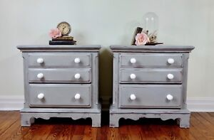 Pair of shabby chic hand painted night stands