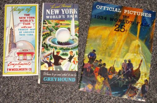 3 Maps Guides of World Fair Expositions New York 1939 Century of progress 1934