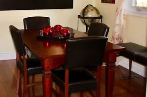 Dining Set - Wood Dining Table, 4 Chairs, and Bench